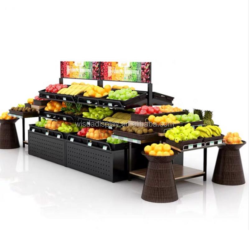 מותאם אישית סופרמרקט ציוד מדף פירות ירקות מתלה תצוגת מדפי wisda תצוגה