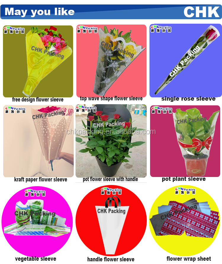 China Customized BOPP transparent single rose plastic flower sleeve/ flower wrapping sleeve China Customized BOPP transparent single rose plastic flower sleeve/ flower wrapping sleeve