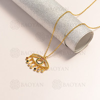 BAOYAN 2019 Fashion Cubic Zirconia Evil Eye Necklace Gold Plated Jewelry