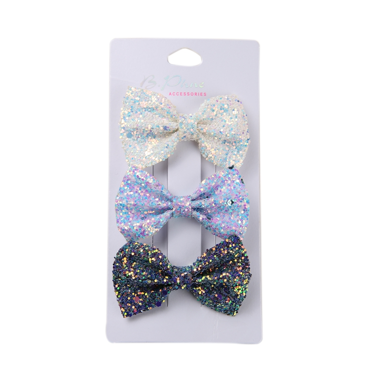 Wholesale Ins Imported Glitter Sequins Wavy Side Three-Dimensional Bow Hair Accessories