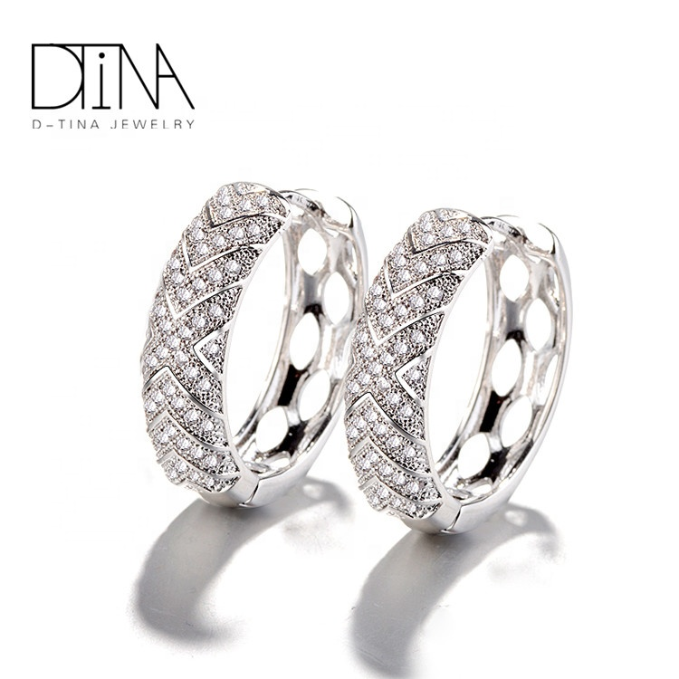 DTINA 2018 Autumn Latest Design Luxury platinum plated Earrings With White Gold Color Fine Jewelry For Girls Earbob