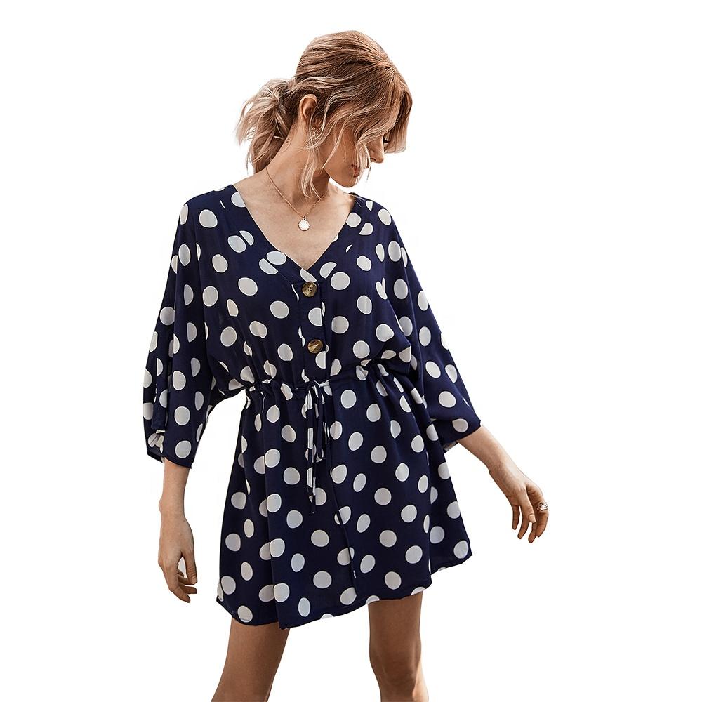 Latest Bat Half Sleeve Designs Drawstring Polka Dot Print Loose Short  Casual Summer Dress For Ladies