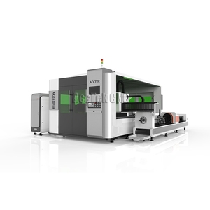 High precision AccTek laser AKJ1530F square tube cutter metal sheet laser fiber cutting machine with rotary axis
