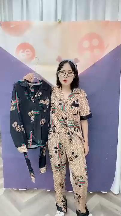 Wanita Pakaian Rumah Piyama 2Pcs Lengan Panjang Piyama Perancang Sutra Satin Baju Tidur Wanita