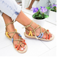 beach sandals Summer Women Gladiator Hemp Rope Shoes multi color fabric flat sandals