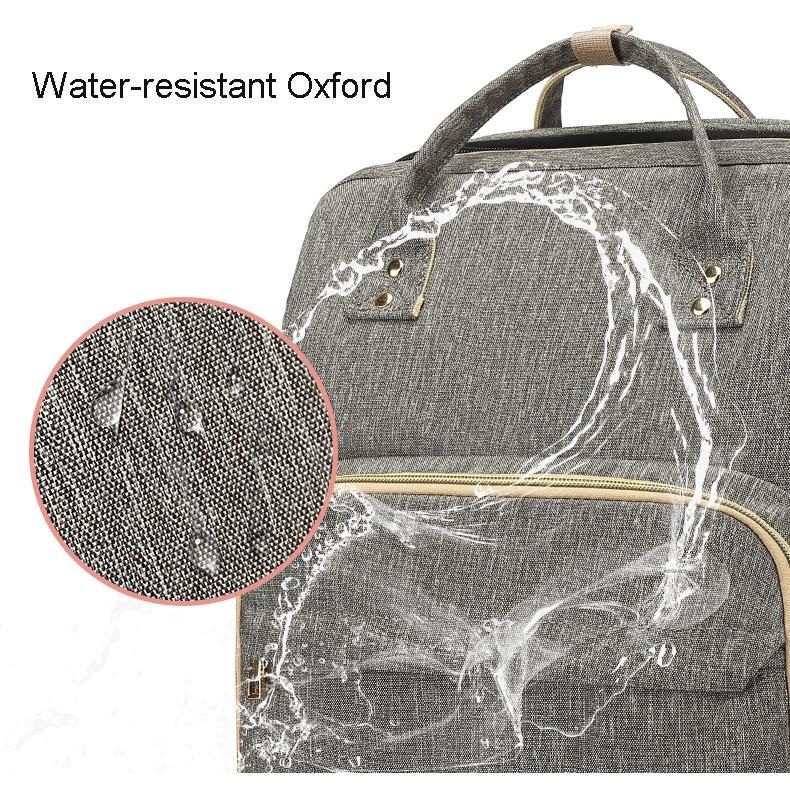 最新便携式旅行可折叠婴儿床背包妈妈尿布袋,带更衣床和大开口