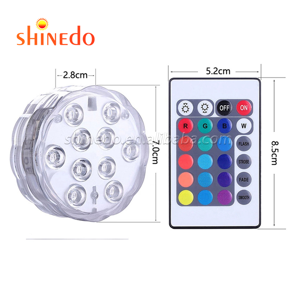 IP68  Waterproof Submersible LED Light With Remote Controller Battery Operated 16-colors 10 LEDS Swimming Pool Underwater Light
