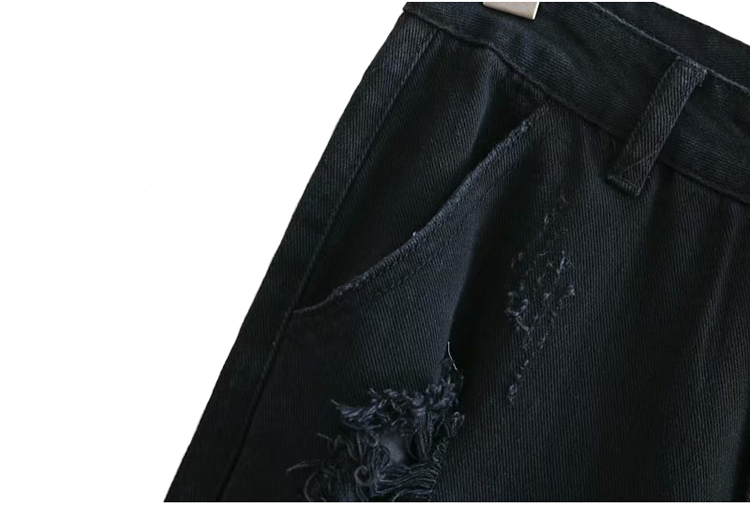 Top sale black jeans ripped destroy damaged distressed denim jeans woman jogger pants