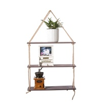 Amazon Best selling Rustic Floating Wall Hanging Shelf Wall Decor Wooden Jute Rope Organizer 3-Tiered