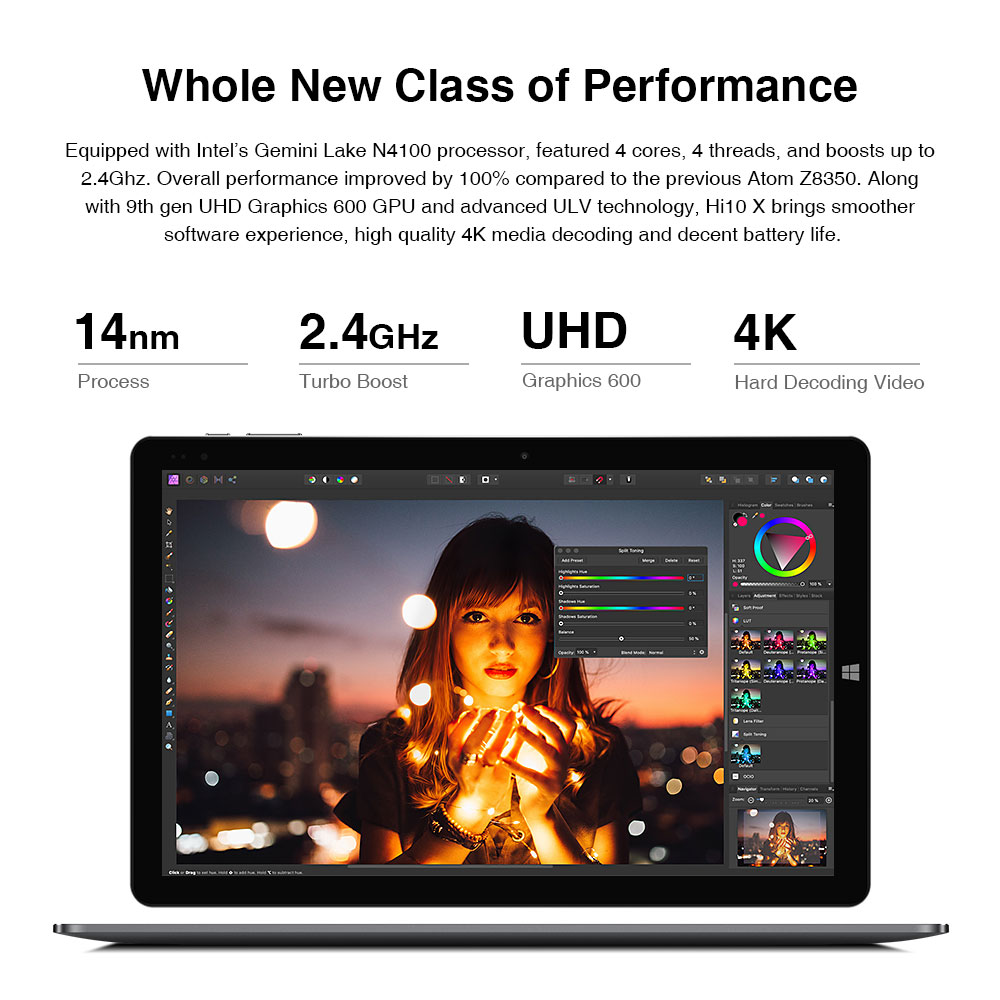 2020 CHUWI Hi10 X Hi10 XR 10.1 inch FHD Screen Intel N4100 Quad Core 6GB RAM 128GB ROM Win 10 Tablets 2.4G/5G Wifi BT5.0