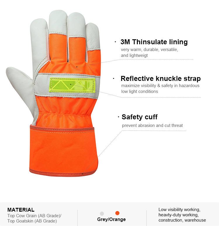 Cheap winter cut resistance hand protection genuine leather top goatskin heavy duty work glove