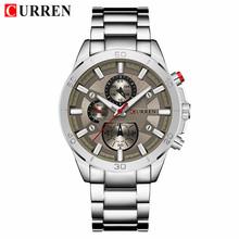 CURREN Мужские часы Топ бренд класса люкс светящиеся кварцевые мужские часы из нержавеющей стали мужские спортивные военные часы Relogio Masculino(Китай)