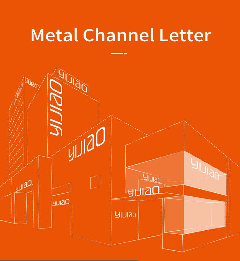 Metalen Kanaal Brief Voorzijde Verlicht Zonder Trimcap Led 3d Outdoor Reclame Bord