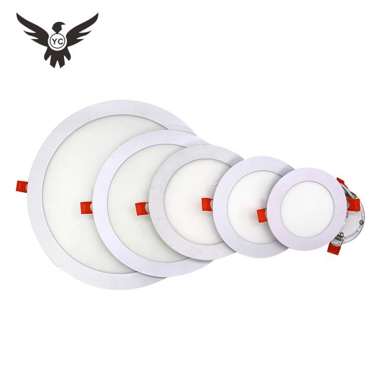 अच्छी कीमत निविड़ अंधकार IP44 3w 6w 9w 12w 18w 24w फ्लैट एलईडी पैनल दीपक recessed दौर अल्ट्रा पतली स्लिम एलईडी छत पैनल प्रकाश