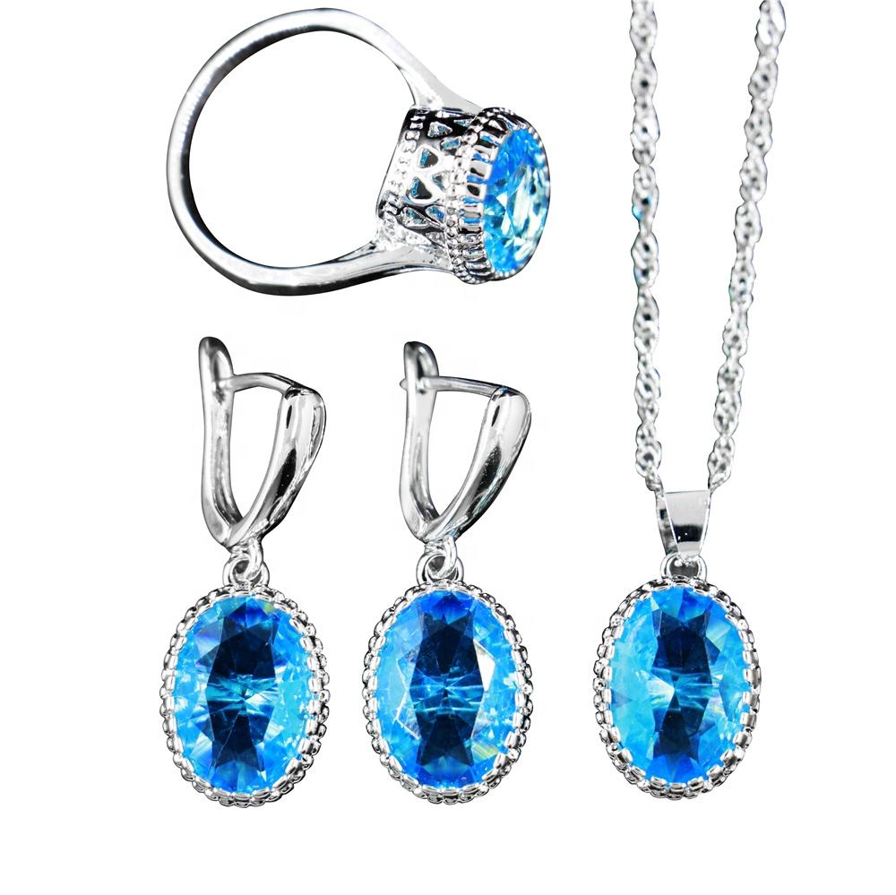 Graceful luxury colorful oval cut zircon diamond bridal wedding engagement ring three pieces jewelry set
