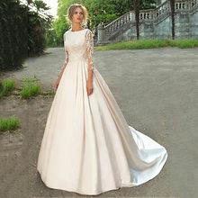 2020 свадебное платье трапециевидной формы с длинным рукавом и кружевной аппликацией, атласное свадебное платье с бисером, свадебное платье ...(Китай)