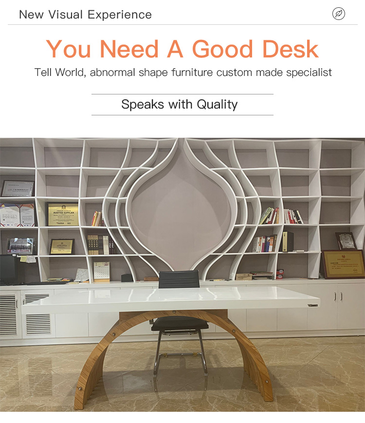 OEM Solid Surface Composite Work with Wooden Manager Exclusive Office Furniture Desk