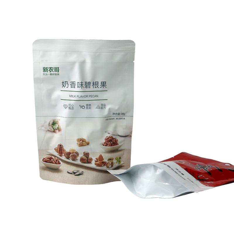 Yüksek kaliteli plastik paketleme çantası 128g mısır gevreği tuz ve biber tadı ayakta duran torba