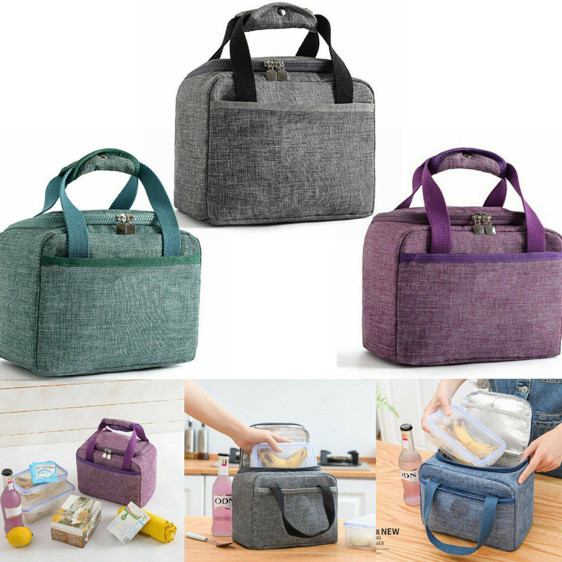 product-2020 Portable New Thermal Insulated Lunch Box Tote Cooler Handbag Bento Pouch Dinner Contain-1