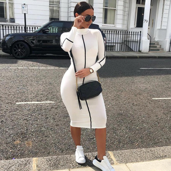 Sexy ladies turtleneck color maxi white bodycon women bandage long sleeve latest fashion dress high quality