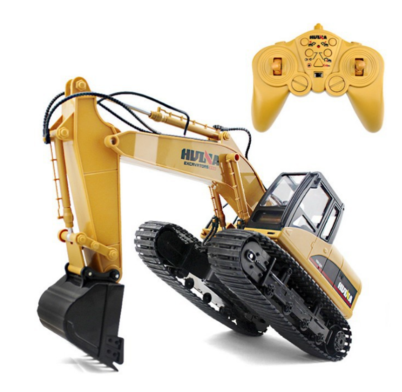 Huina 1/14 Alloy RC Excavator 15 Channel 2.4G Remote Control Excavator Engineering Car Electric Vehicle RC Car Toys for Children