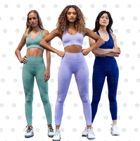 Two Pieces Fitness Sports Gym Wear Clothing High Waist Seamless Yoga Set