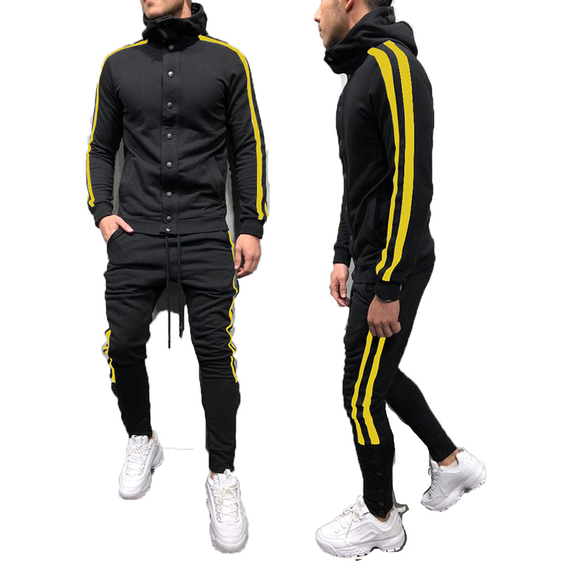 Custom Logo Button Jogging Suits Long Sleeve Sport Track Suit For Men