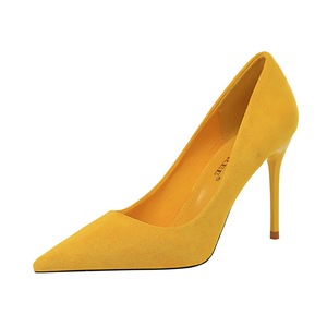 825-3  Fashion simple stiletto high heel suede shallow mouth pointed high heels women's shoes sexy thin single shoes