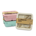 1100ml Rectangle Natural Wheat Material Eco-friendly 2 Layers Plastic Lunch Box with sealing plug
