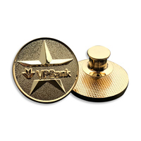 Customized Round Grinded Gold-plated Badge/Pure Copper Button Brassiere for Metal Flaps