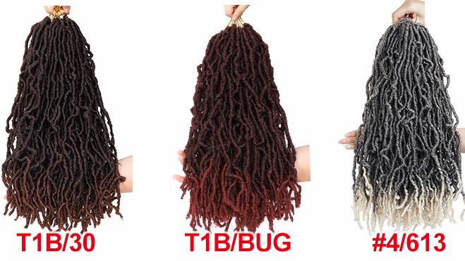 安いnuフェイクlocs 14 18 22 24人工毛かぎ針編み三つ編みアフリカの根三つ編みジャネットコレクションロングnu女神locs