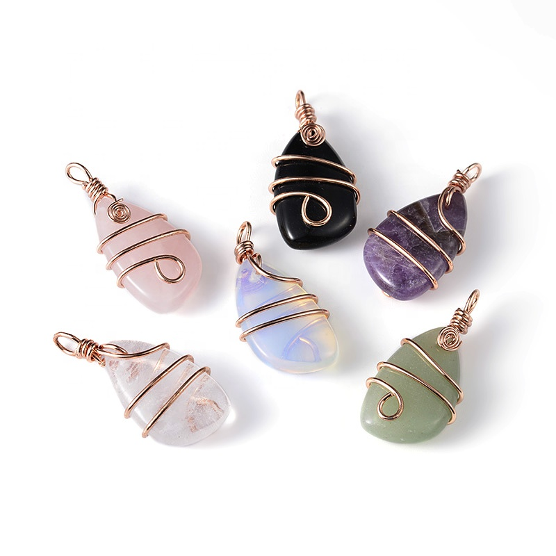 Rose Quartz Onyx Amethyst Crystal Nuggets Stone Pendant  Brass Rose Gold Color Wire Wrap For Necklace Jewelry Making