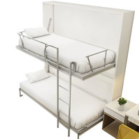 New design modern simple wholesale bedroom furniture bunk bed wall bed  bunk beds with guardrail double deck folding bed