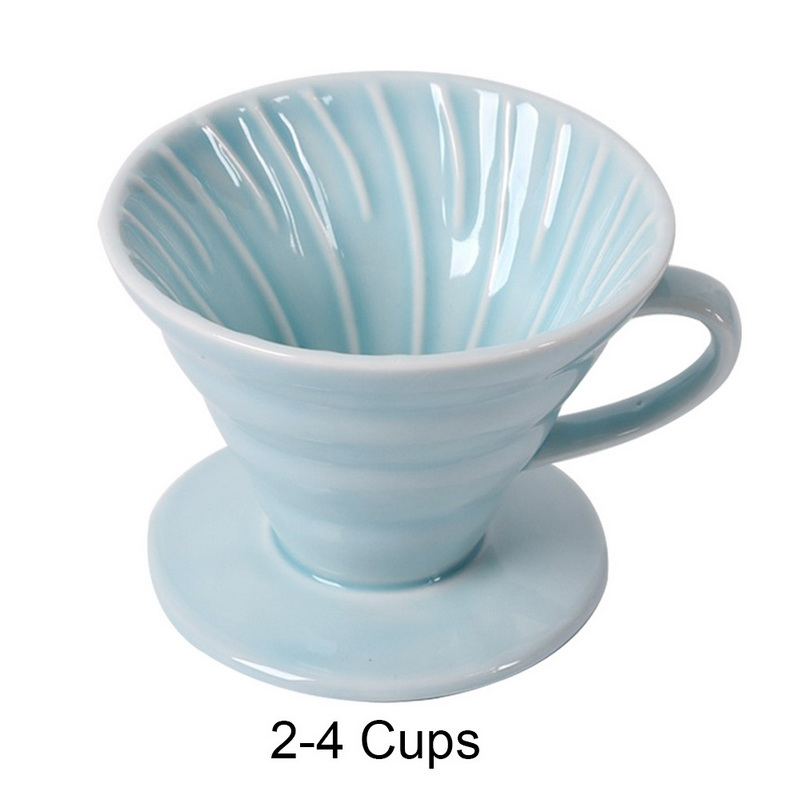 Керамический кофе капельница фильтр для 1-4 чашек кофе капельного двигателя чашки Перманентный залить над кофеварка с отдельной подставкой(Китай)
