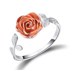 S925 Sterling Silver Rose Open Ring 3D Rose Flower Adjustable Ring Jewelry for Women