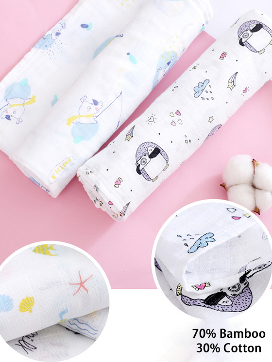 Double Layer Bamboo Cotton Baby Muslin Swaddle Blanket