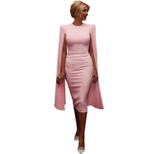 Frauen Sexy Wrap Ärmel Bodycon Party Club Cocktail Elegante Midi Kleid