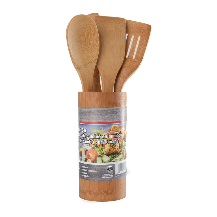 New Arrivals Bamboo Cook And Serve Set cookingware Reusable Bamboo Cooking Utensils Bamboo Spoon And Spatula