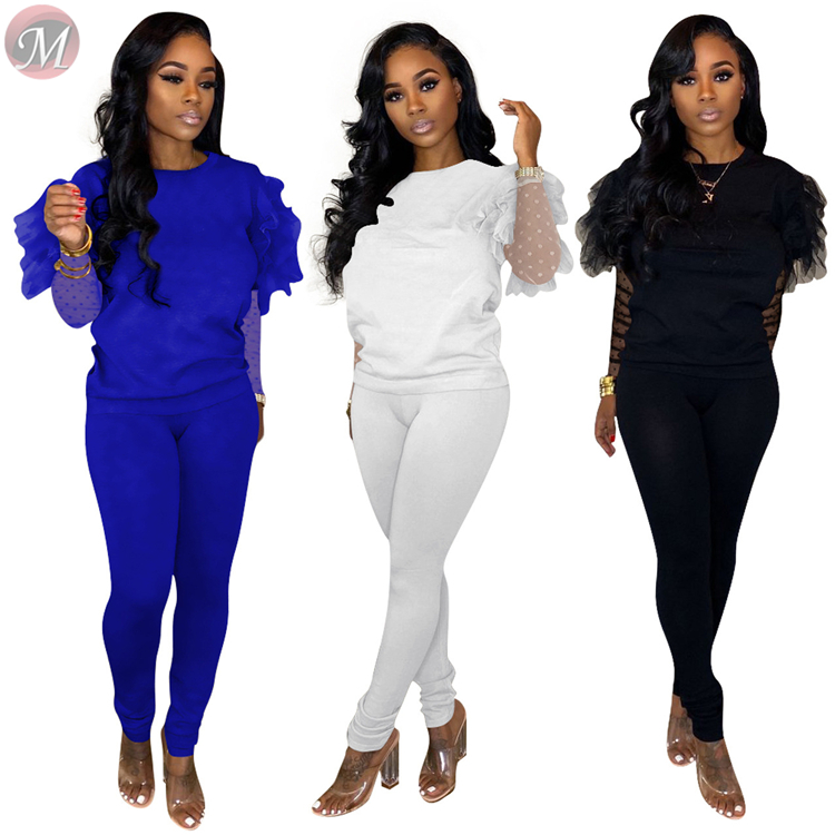 9111335 hot sale fashionable solid ruffle mesh sleeve casual women fashion clothing two piece sets