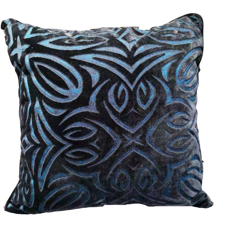 Cut Work Velvet Sofa Gray Dyed Velvet Jacquard Cushion Cover