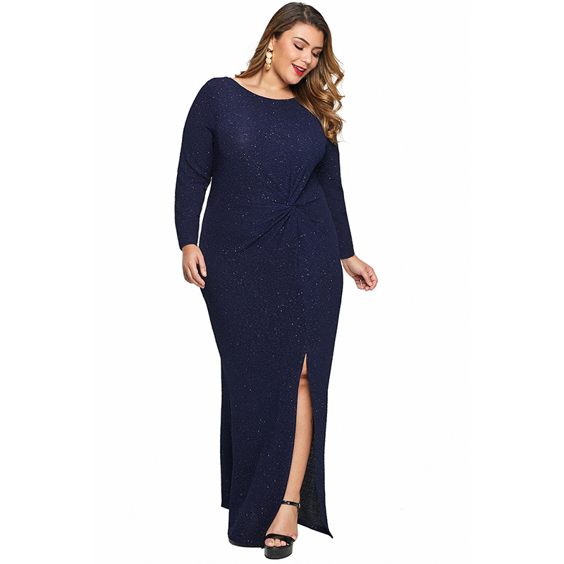 O Neck Long Sleeve Twist Detail Maxi Plus Size Dress