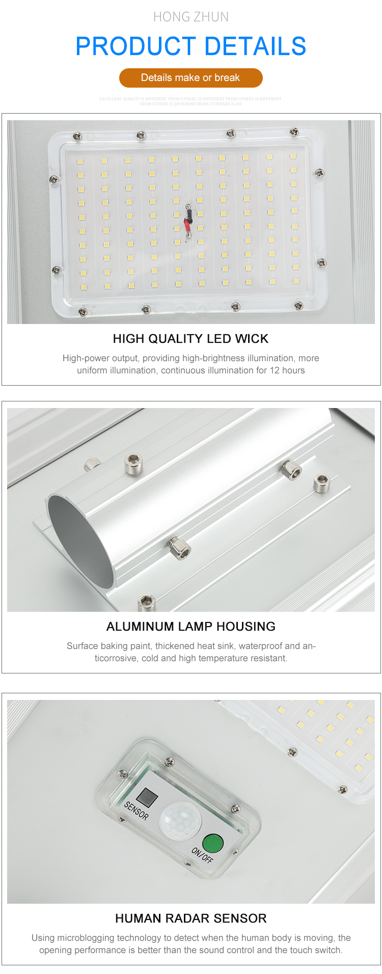 High lumens Waterproof IP65 smd 50w 100w 150w integrated all in one led solar street light