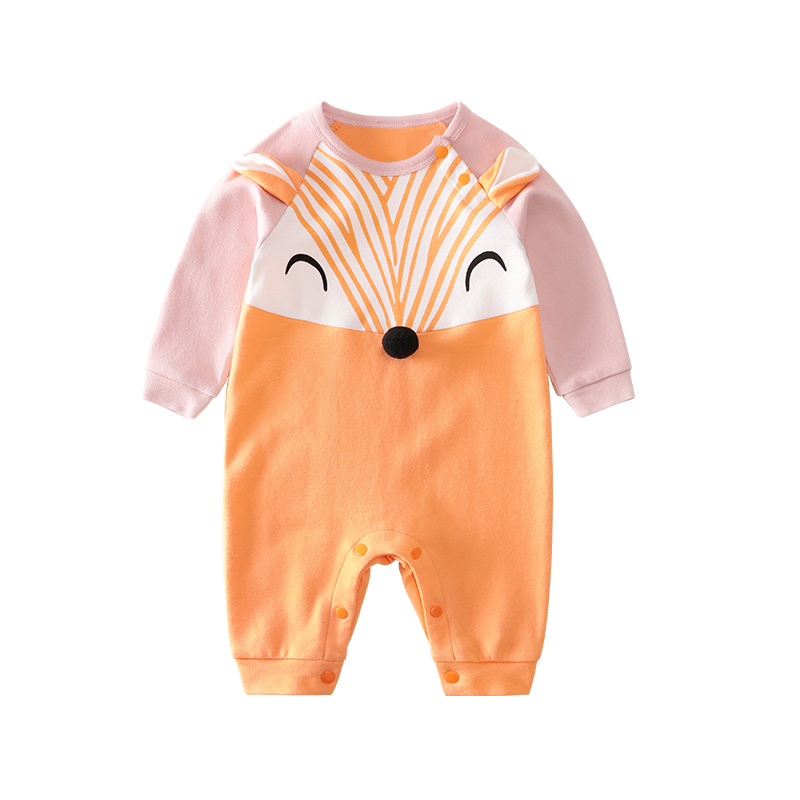 Wholesale Cute <strong>Baby</strong> Foxy Romper Unisex Animal Cotton Onesie for Autumn Winter <strong>Baby</strong> <strong>Jumpsuit</strong>
