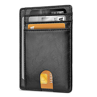 Oil Wax PU Leather Front Pocket Men Rfid Blocking Slim Card Holder Minimalist Wallet