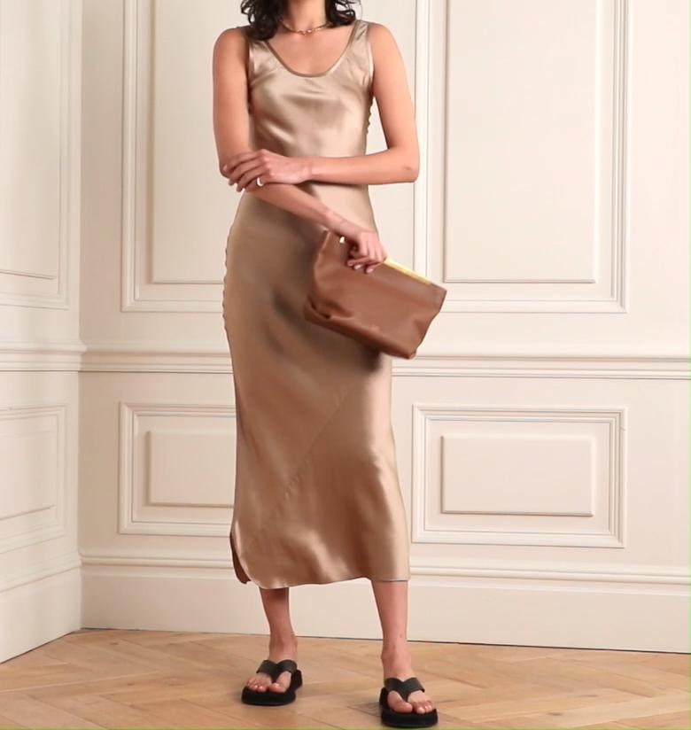 Luxe mode femme vêtements femme décontracté couleur unie robes longues 100% soie satin robe midi