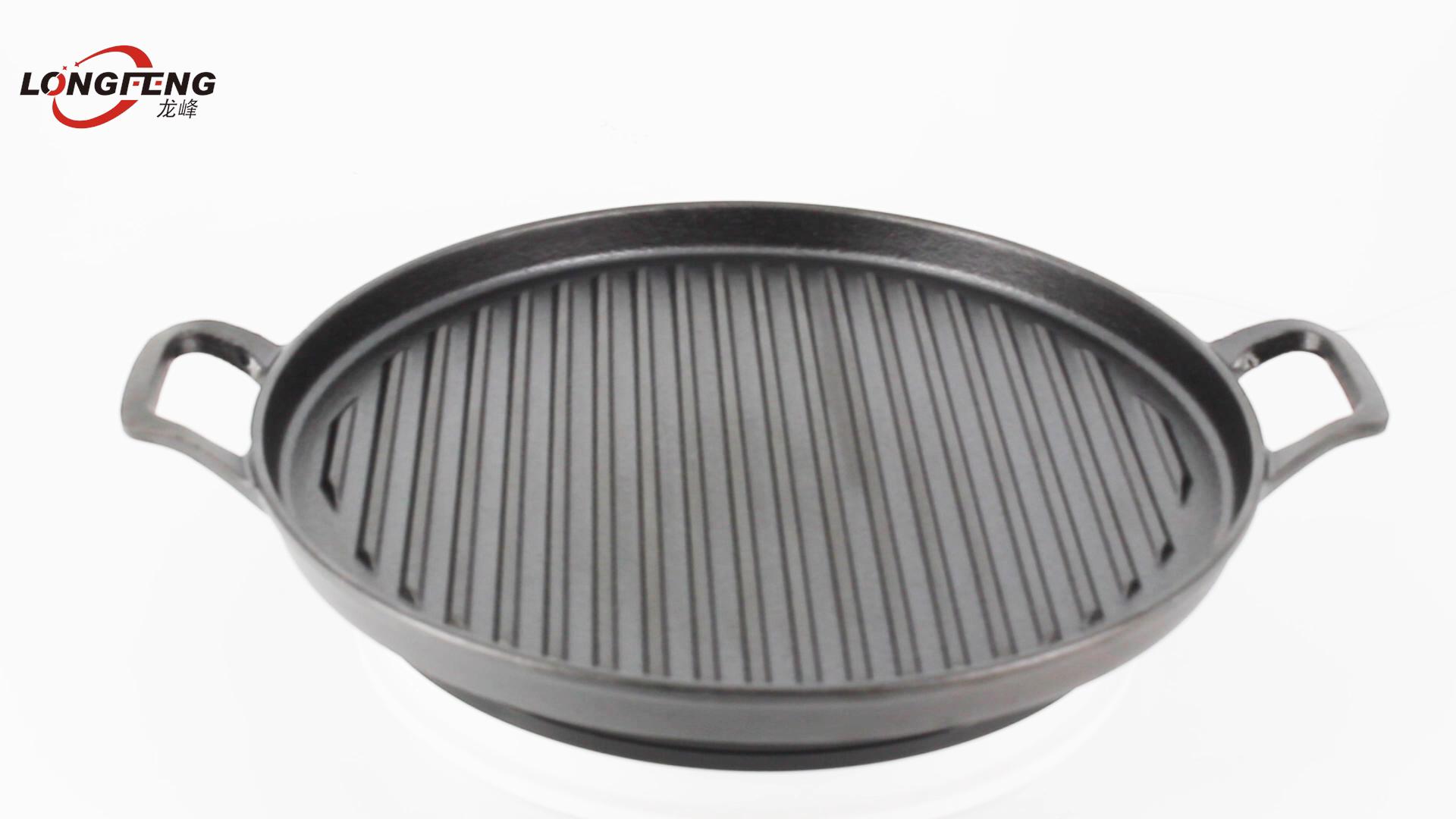 Hoge Kwaliteit Preseasoned Gietijzeren Grill Pan 31Cm Ronde Gietijzeren Platte Bakplaat