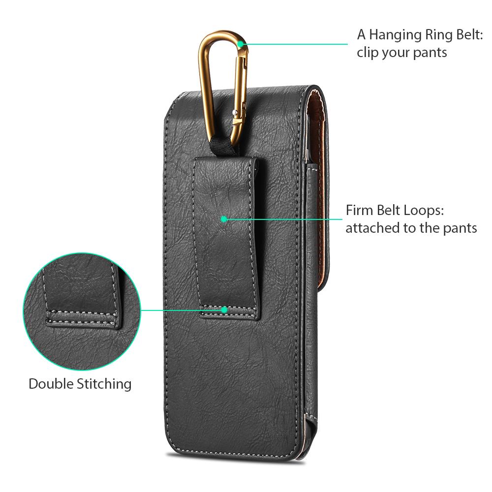 العالمي الحقيبة الجلدية جراب هاتف للهاتف XS X 6 7 8 زائد الخصر حقيبة المغناطيسي الحافظة حزام كليب غطاء الهاتف ل redmi 5 زائد