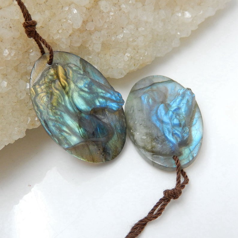 Natural Semiprecious Gemstone Cabochons Pairs Jewelry Labradorite Handmade Carvings 29x19x6mm, 9.7g
