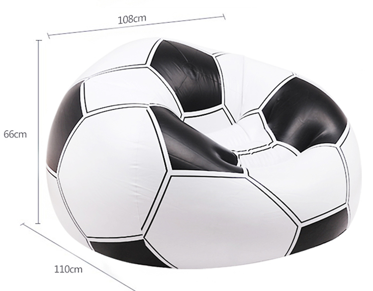 Authentic Cheap Comfortable Football Style Pvc Sofa 1 Seater Inflatable Armrest Lazy Couch Sofa