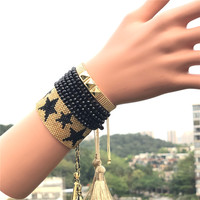 fashion popular street punk glass crystal 3pcs one set lady jewelry handmade woven miyuki bracelet for women